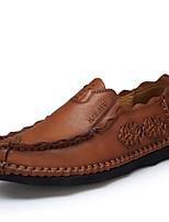Недорогие -Муж. Официальная обувь Наппа Leather Весна Удобная обувь Мокасины и Свитер Коричневый / Хаки