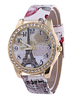 cheap -Women's Wrist Watch Chinese Casual Watch PU Band Eiffel Tower / Fashion Black / White / Blue