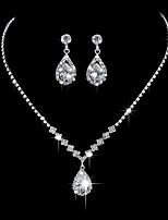 cheap -Women's Cubic Zirconia Long Jewelry Set - Sterling Silver Drop, Flower Classic, Vintage, Elegant Include Drop Earrings / Choker Necklace / Vintage Necklace Silver For Wedding / Engagement / Ceremony
