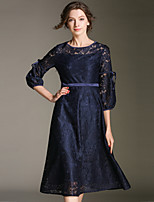 cheap -SHIHUATANG Women's Vintage / Sophisticated A Line Dress - Solid Colored Lace / Bow