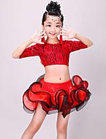 abordables -Baile Latino Accesorios Chica Entrenamiento / Rendimiento Poliéster Encaje / Fruncido Media Manga Cintura Alta Faldas / Top