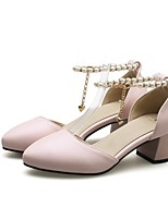 Недорогие -Жен. Балетки Полиуретан Лето Обувь на каблуках На толстом каблуке Бежевый / Лиловый / Розовый