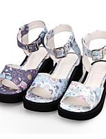 cheap -Lolita Shoes Sweet Lolita Dress Princess Lolita Wedge Heel Shoes Pattern 5 cm CM White / Purple / Blue For PU(Polyurethane)