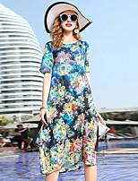 Недорогие -Жен. Классический / Элегантный стиль Прямое Платье - Цветочный принт Средней длины