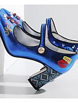 Недорогие -Жен. Обувь Синтетика Весна / Осень Удобная обувь / Туфли лодочки Обувь на каблуках На толстом каблуке Серебряный / Синий