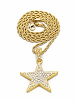 cheap -Men's Cubic Zirconia Classic Stylish Pendant Necklace / Chain Necklace - Mini, Star Classic, European, Hip-Hop Cool Gold, Silver 60 cm Necklace Jewelry 1pc For Street, Going out