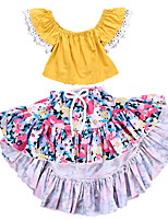 cheap -Toddler Girls' Solid Colored Sleeveless Clothing Set