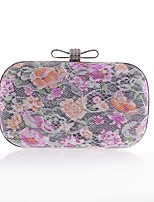 cheap -Women's Bags Polyester Evening Bag Bow(s) / Crystals Floral Print White / Black / Almond