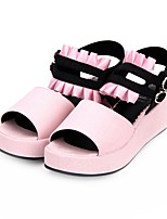 cheap -Lolita Shoes Sweet Lolita Dress Princess Lolita Wedge Heel Shoes Color Block 5 cm CM White / Black / Pink For PU(Polyurethane)