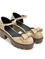 Недорогие -Жен. Обувь Полиуретан Весна лето Удобная обувь Обувь на каблуках На толстом каблуке Черный / Серый / Миндальный