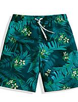 cheap -Men's Swimming Trunks / Swim Shorts Rain-Proof, Ultra Light (UL), Quick Dry POLY Swimwear Beach Wear Board Shorts / Bottoms Floral / Botanical Surfing / Beach / Watersports