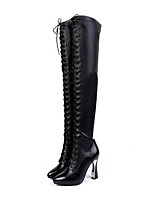 cheap -Women's Shoes Suede / Nappa Leather Fall & Winter Fashion Boots Boots Chunky Heel Pointed Toe Rhinestone Black / Party & Evening