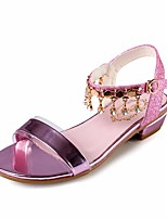 cheap -Girls' Shoes PU(Polyurethane) Summer Flower Girl Shoes / Tiny Heels for Teens Sandals for Gold / Silver / Pink