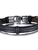 cheap -Men's Layered Leather Bracelet - Leather Ball Rock Bracelet Black For Daily / Date