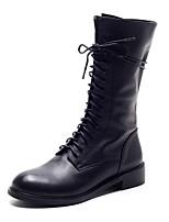 cheap -Women's Shoes Pigskin / PU(Polyurethane) Fall & Winter Comfort Boots Flat Heel Black / Almond