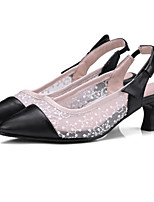 cheap -Women's Shoes PU(Polyurethane) Spring & Summer Slingback / Basic Pump Heels Chunky Heel Pointed Toe White / Black / Pink