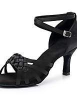 preiswerte -Damen Schuhe für den lateinamerikanischen Tanz Satin Sneaker Schlanke High Heel Maßfertigung Tanzschuhe Schwarz