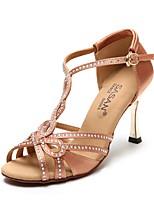 baratos -Mulheres Sapatos de Dança Latina Cetim Salto Salto Alto Magro Sapatos de Dança Preto / Nú