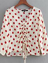 cheap -women's shirt - polka dot deep v