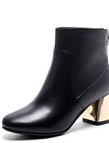 cheap -Women's Shoes Nappa Leather Fall & Winter Fashion Boots Boots Chunky Heel Round Toe Booties / Ankle Boots Black / Almond / Party & Evening