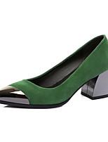 cheap -Women's Shoes Suede Spring Comfort Heels Chunky Heel Black / Green