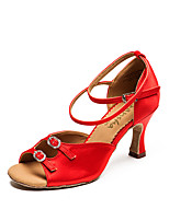 cheap -Women's Latin Shoes Satin Sneaker Flared Heel Dance Shoes Red