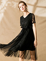 cheap -SHIHUATANG Women's Street chic / Sophisticated A Line Dress - Solid Colored Lace / Bow