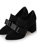Недорогие -Жен. Обувь Замша Весна Удобная обувь Обувь на каблуках На толстом каблуке Черный / Миндальный