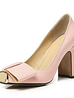 cheap -Women's Shoes Nappa Leather Spring & Summer Comfort Heels Chunky Heel Black / Pink / Almond