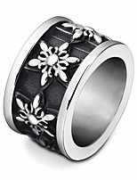 cheap -Men's Hollow Out Ring - Titanium Steel Star Statement, European, Trendy 6 / 7 / 8 Black For Street / Club