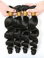 Недорогие -4 Связки Бразильские волосы Свободные волны Необработанные / Натуральные волосы Косплей Костюмы / Головные уборы / Человека ткет Волосы 8-28 дюймовый Естественный цвет Ткет человеческих волос