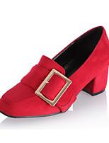 Недорогие -Жен. Обувь Замша Осень Удобная обувь / Туфли лодочки Обувь на каблуках На толстом каблуке Черный / Серый / Красный