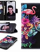Недорогие -Кейс для Назначение Huawei Honor 10 / Honor 7A Кошелек / Бумажник для карт / со стендом Чехол Фламинго Твердый Кожа PU для Huawei Honor 10 / Honor 7X / Honor 7C(Enjoy 8)