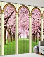 Недорогие -3D-шторы Спальня Геометрический принт Полиэстер С принтом / Солнцезащитные