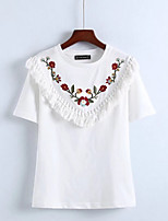 cheap -Women's Basic Cotton T-shirt - Floral Embroidered Crew Neck / Summer