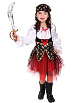 cheap -Pirate Costume Girls' Halloween / Carnival / Children's Day Festival / Holiday Halloween Costumes Black Solid Colored / Halloween Halloween
