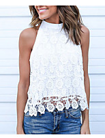 cheap -Women's Basic T-shirt - Solid Colored Lace / Cut Out