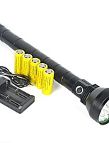 cheap -LED Flashlights / Torch / Handheld Flashlights / Torch LED 22000 lm 1 Mode with Batteries Professional Camping / Hiking / Caving / Everyday Use / Police / Military