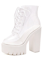 cheap -Women's Shoes PU(Polyurethane) Spring Comfort Boots Chunky Heel White