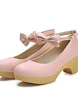 Недорогие -Жен. Обувь Полиуретан Весна Удобная обувь Обувь на каблуках На толстом каблуке Черный / Зеленый / Розовый / Свадьба