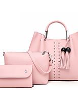 cheap -Women's Rivet / Tassel PU Bag Set Solid Color 3 Pcs Purse Set Black / Brown / Blushing Pink