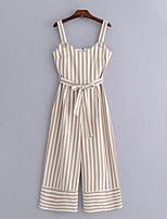 cheap -Women's Basic Jumpsuit - Striped, Print