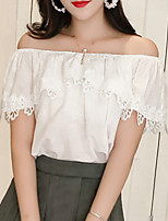 cheap -women's going out blouse - solid colored off shoulder