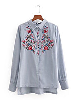 cheap -Women's Going out Shirt - Striped / Floral Shirt Collar