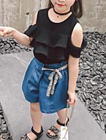 Недорогие -Дети Девочки Пэчворк С короткими рукавами Набор одежды