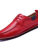 Недорогие -Муж. Полиуретан Осень Удобная обувь Туфли на шнуровке Черный / Коричневый / Красный