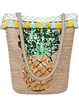 cheap -Women's Bags Straw Tote Embroidery Brown