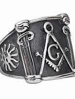 cheap -Men's Stylish Statement Ring - Titanium Steel Sun, Letter Rock, Hyperbole, Hip-Hop 7 / 8 / 9 Silver For Carnival / Club