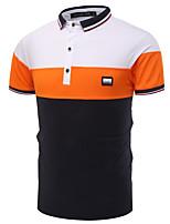 cheap -Men's Work Polo - Color Block Shirt Collar / Short Sleeve