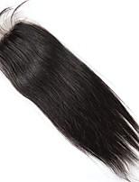 Недорогие -Естественные волны 4x4 Закрытие Прямой Бесплатный Часть Швейцарское кружево Натуральные волосы Жен. Лучшее качество На каждый день
